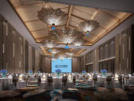 东南亚宴会厅 东南亚宴会厅 酒店餐厅 圆餐桌 餐椅 吊顶 吊灯
