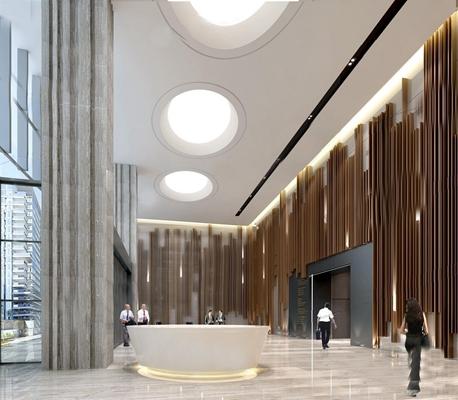 办公大厅电梯间 办公大厅 电梯间 办公区前台接待