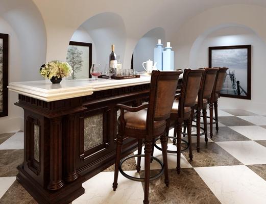 美式吧台吧椅组合 美式吧台 吧椅 餐具 装饰画