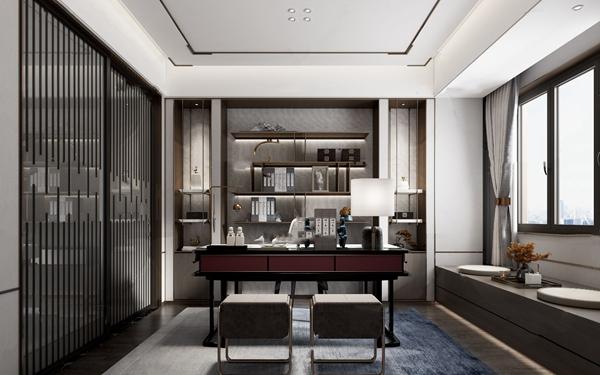 新中式簡約書房3d模型