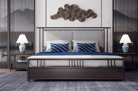 新中式双人床组合 新中式双人床 床头柜 台灯 背景墙 抱枕 墙饰