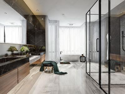 现代卫生间 现代卫浴 台盆 卫浴柜 凳子 浴缸 浴袍 淋浴间