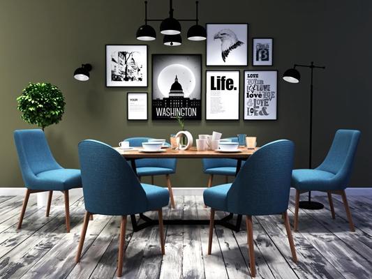 北欧餐厅 北欧餐厅 北欧桌椅 挂画