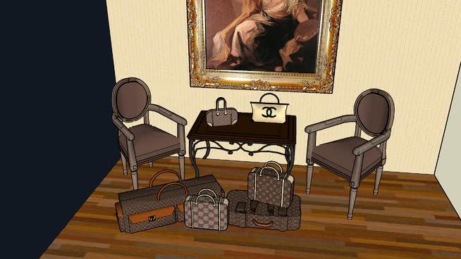 时尚奢华行李收藏品 室内 书桌 相框 宝座 餐厅