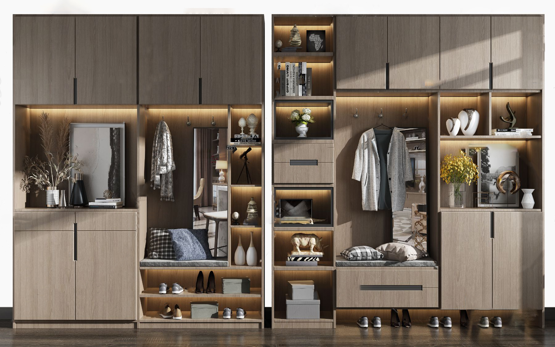 现代多功能鞋柜3d模型