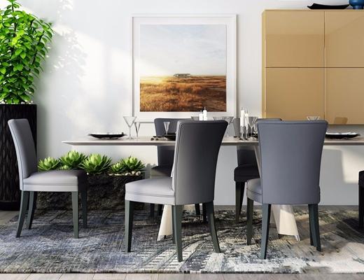 现代餐桌椅餐边柜组合 现代桌椅组合 餐桌椅 墙柜 装饰柜 绿植 长餐桌 椅子 餐具