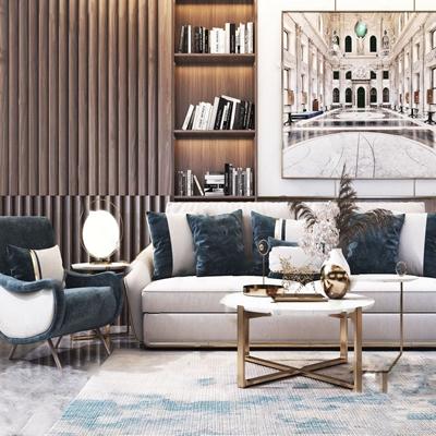 现代轻奢沙发茶几组合 现代沙发茶几组合 多人沙发 单人沙发 茶几 角几 书柜 装饰画 摆件