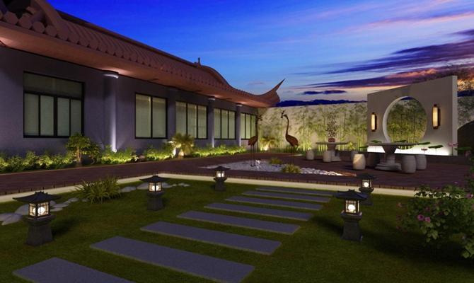 寺院 中式寺院 景观灯 壁灯 中式寺庙屋顶 雕塑 石凳