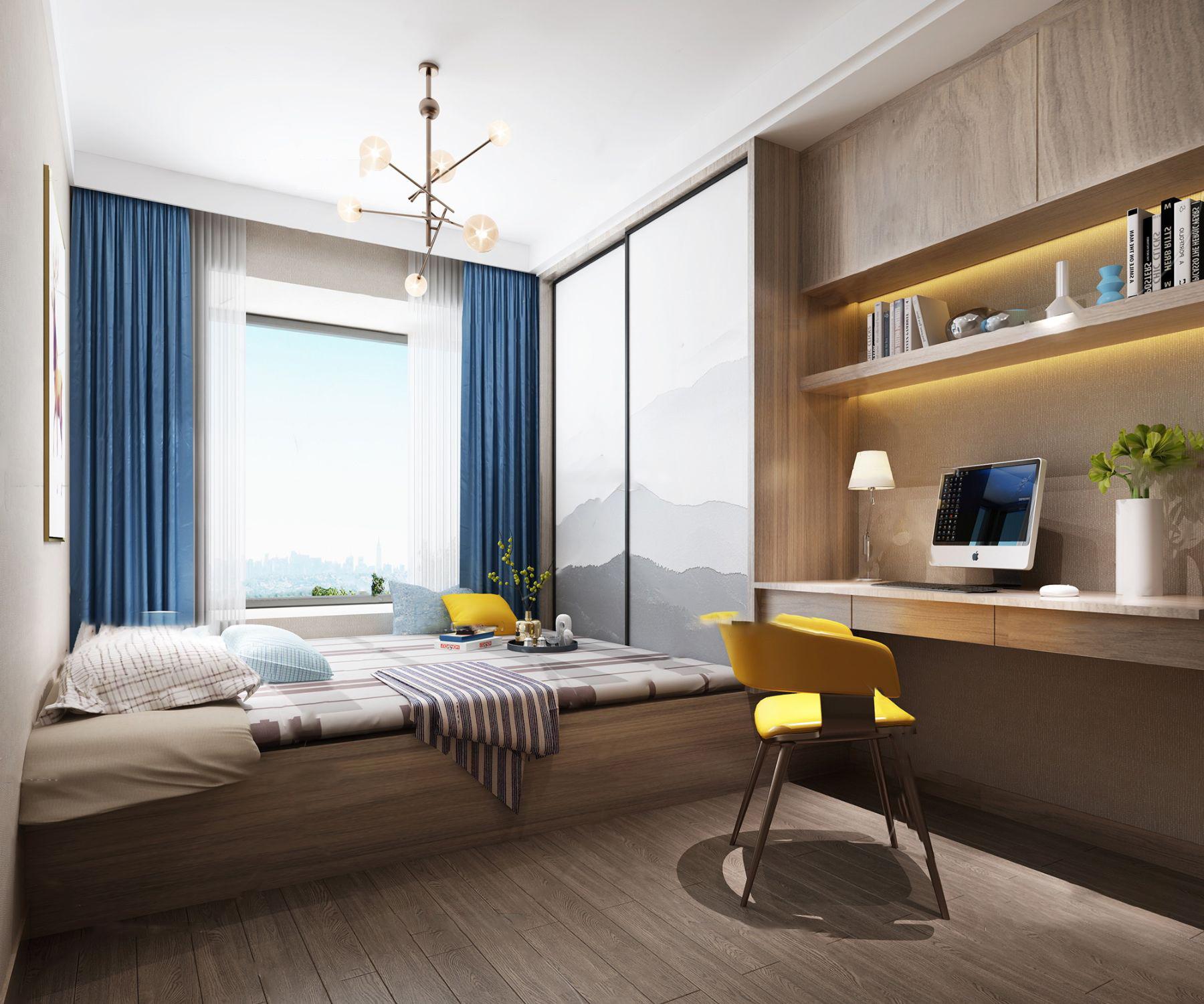 北欧榻榻米卧室书房3d模型