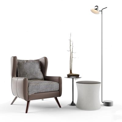 北欧单人休闲沙发 北欧单人沙发 休闲沙发 边几 落地灯 摆件