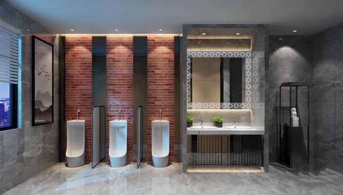 新中式男公共卫生间 新中式卫浴 小便池 洗手台 雕塑 挂画