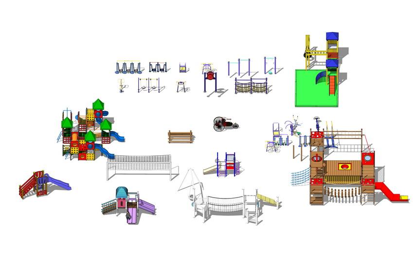 儿童游乐器材组合SU模型
