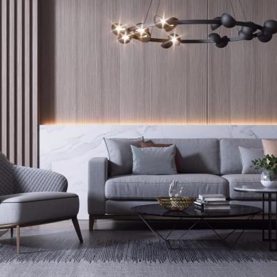 现代布艺沙发茶几吊灯组合3D模型
