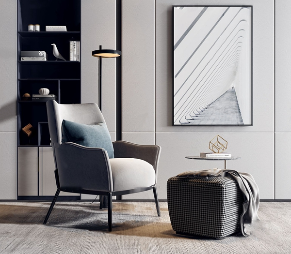 现代单人休闲椅圆几组合3d模型