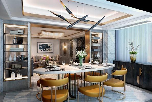 现代客餐厅 现代整体模型 多人沙发 茶几 边几 电视柜 餐桌椅 餐边柜 吊灯 吸顶灯 壁灯 绿植 现代客餐厅