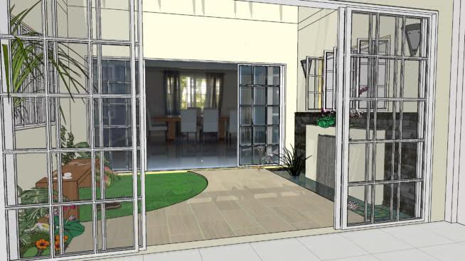 有喷泉和座位的庭院 滑动门 监狱 室外 宿舍 楼梯扶手