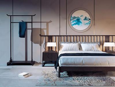 新中式双人床组合 新中式双人床 双人床 床头柜 中式挂衣架 台灯 地毯 挂画