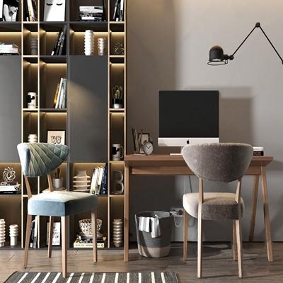 北欧书桌椅书柜组合 北欧书桌椅 书柜 摆件 置物篮 落地灯
