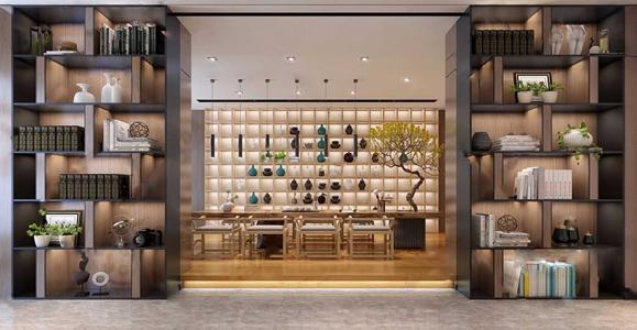 现代新中式茶室 新中式茶室 茶桌 酒柜 椅子 树 装饰柜 饰品摆件 吊灯