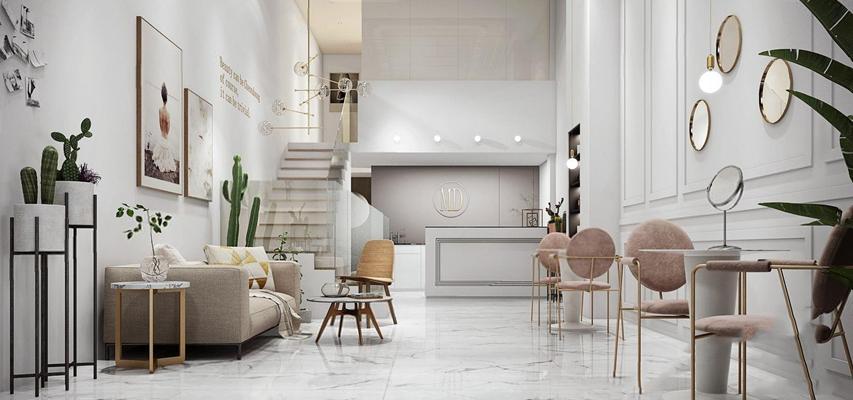 美容spa大厅 现代spa 美容院 前台接待 多人沙发 桌椅组合 单头吊灯 多肉植物 挂画 摆件 北欧spa