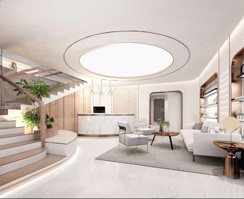 现代SPA大厅 现代spa 等候区 多人沙发 茶几 休闲椅 吧台 吊灯 壁柜 台灯 绿植 大厅