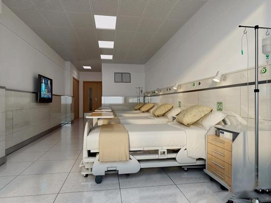医院病房输液室 现代医院 病房 输液室 病床 床头柜 输液杆