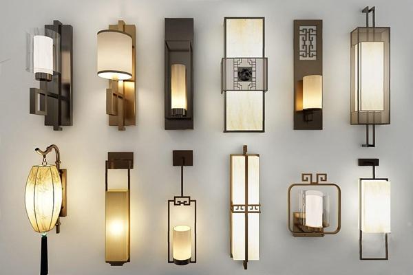 新中式壁灯组合 新中式壁灯 金属壁灯 壁灯组合