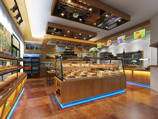 现代面包店 现代面包店 面包 冰箱 显示屏 吊灯 货柜 花卉 地灯