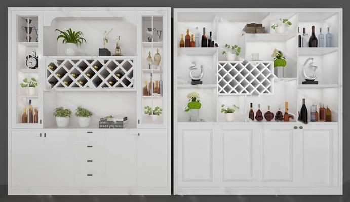 現代酒柜3D模型下载