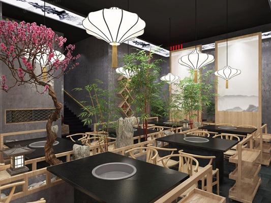 新中式餐飲火鍋店 新中式餐飲 過道 火鍋店 桌子 椅子 吊燈 花 餐柜 石頭 竹子
