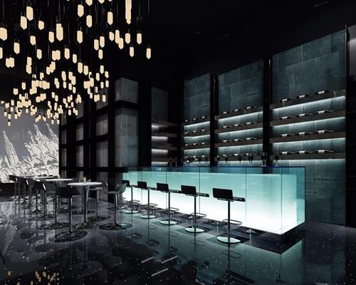 现代酒吧舞台 现代娱乐会所 吧台 吧椅 餐桌 装饰架 吊灯 乐器 射灯 投影仪