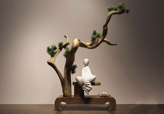 万千家具饰品—新中式实木根雕禅意摆件 新中式实木根雕 禅意摆件 万千家具饰品