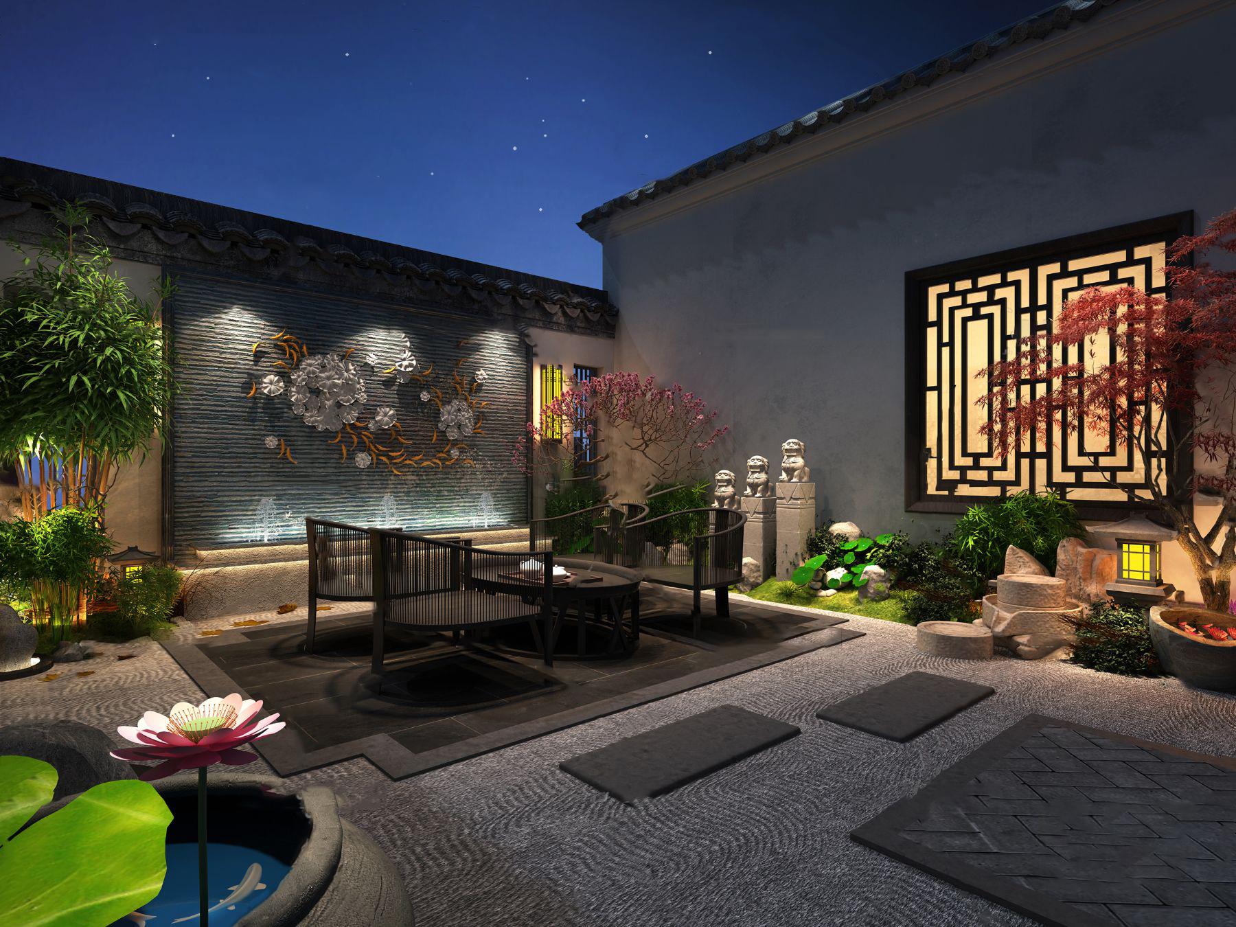 中式庭院夜景3d模型