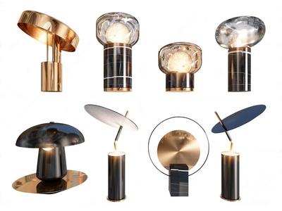 现代金属圆片台灯3d模型