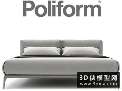 现代布艺床