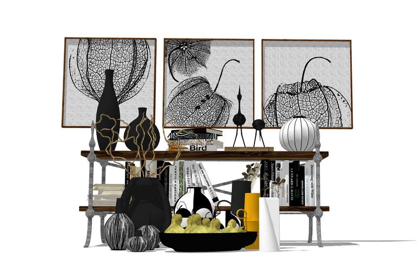 现代工业风饰品摆台装饰画组合SU模型