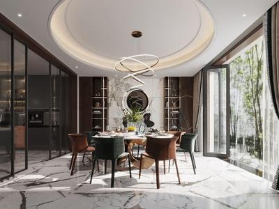 現代別墅餐廳3d模型