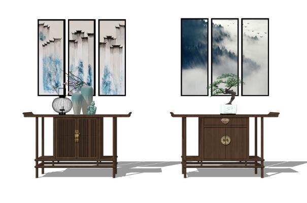 中式玄关柜组合SU模型