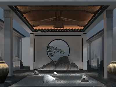 新中式假山园艺小品3d模型