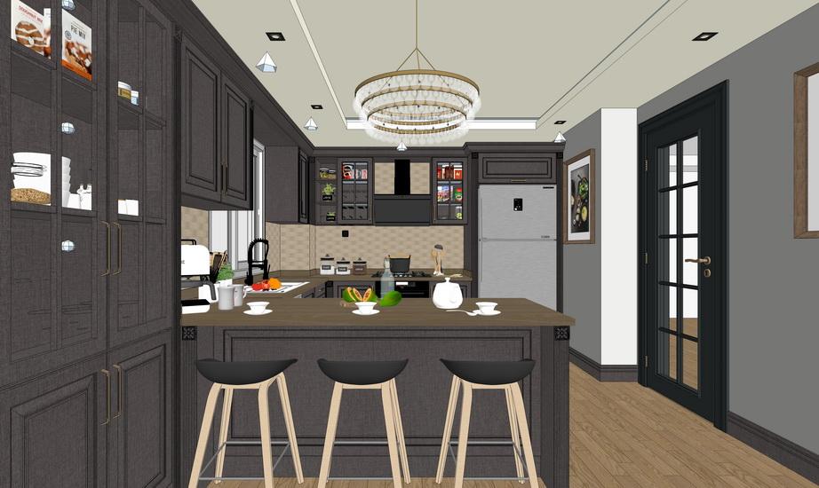 厨房橱柜组合SU模型