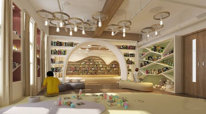 现代阅览室3D模型