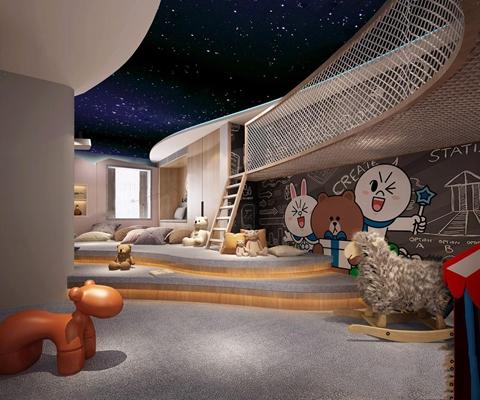 现代儿童游乐室 现代娱乐室 攀爬网 星空 玩具 儿童游乐场