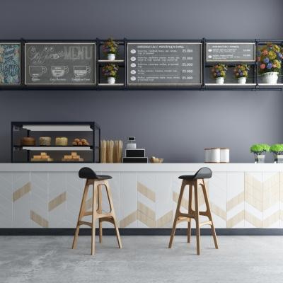 现代咖啡厅吧台3D模型