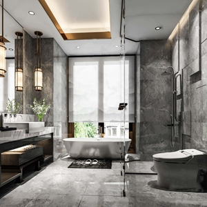新中式衛生間 新中式衛浴 浴缸 洗手臺 吊燈 洗漱用品 坐便器 淋浴間 花藝