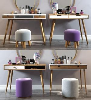 现代北欧梳妆台组合 现代梳妆台 梳妆桌 梳妆凳 镜子 化妆品