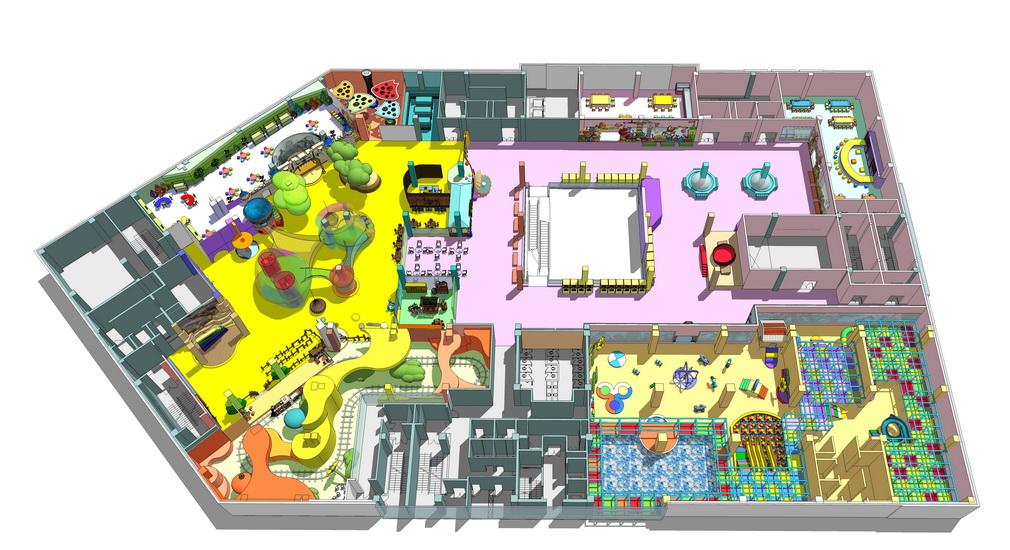 儿童游乐场室内布置SU模型