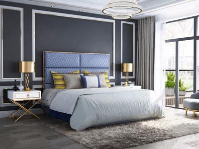 后现代双人床 后现代双人床 床头柜 边几 吊灯 台灯 休闲椅 地毯 床品