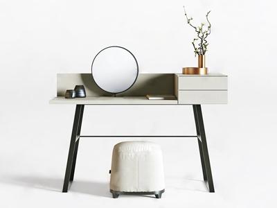 现代梳妆台凳组合 现代梳妆台 凳子 摆件