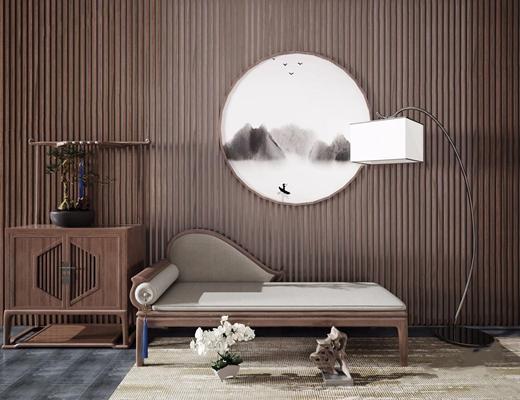 新中式贵妃椅 新中式贵妃椅 落地灯 边柜 盆栽 地毯 背景墙 躺椅