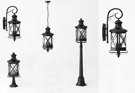 美式户外灯组合 美式户外灯 吊灯 壁灯